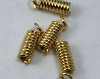8mm Gold Coil Spring Cord End #MBC216
