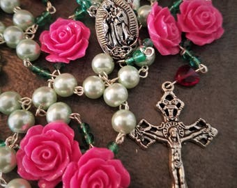 Our Blessed Lady of Guadalupe A Festival of Spring Flowers Rosary Necklace - La Virgen de Guadalupe Fiesta De Las Flores Rosary