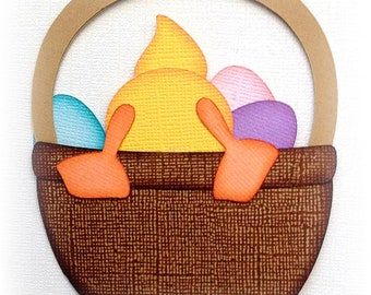 premade paper piecing easter chick in basket scrapbooking embellishment by My tear bears by Kira