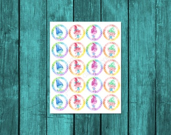 Trolls party decor, Trolls birthday, Trolls cupcake toppers, 8.5x11 sheet, each circle is a 2 inch diameter, Trolls digital party printable