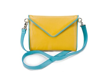 SMALL ENVELOPE BAG-Yellow Leather and Aqua Trim