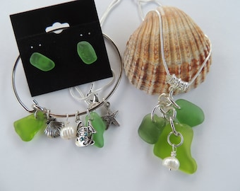 Authentic Shades of Green Lake Erie Beach Glass Jewelry Set with Freshwater Pearls and Tibetan Silver Charms, Sea glass Jewelry