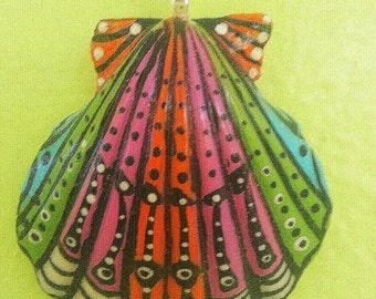 Whimsical one of a kind hand painted bright shell pendant