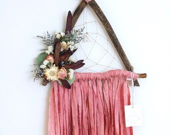 Salmon Pink Triangle Dream Catcher with Dried Flowers
