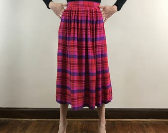 Vintage 1980s, High Waisted Plaid Women's Long Skirt, Size Small