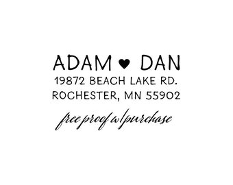 Return Address Stamp featuring Simple Sans Hand Lettering with a Heart.  Custom Stamp, Small return address stamp  (20432) - (1 7/8 x 3/4)