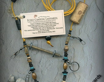Fly Fishing Lanyard + Tippet Holder with Seed,and Exotic Wood Beads on Goldenrod 2mm Paracord