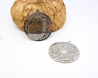 2 estampes pendentifs rondes mandala bouddhiste 22*20mm acier inoxydable (8SBA95)