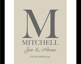 "Monogram Wedding Gift, Personalized Wedding Gift, Wedding Gifts for Couple, Wedding Gifts Personalized - 8""x10"""