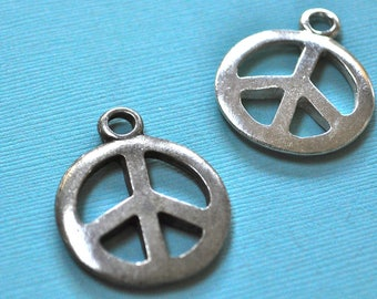 Peace Pendant hand cast lead free pewter made in USA choice of silver or oxidized silver finish