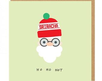 Ho Ho Hot Santa Sriracha Hot Sauce Beanie Christmas Greeting Card
