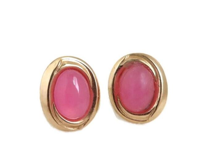Solid Gold Earrings, Gold Studs, Stud Earrings, Bridal Earrings, Pink Earrings, Stone Earrings, Gold Post Earrings, 14k Vintage Earrings