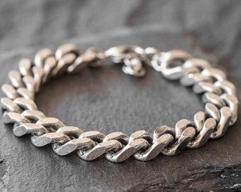 Men's Silver Bracelet - Men's Chain Bracelet - Men's Cuff Bracelet - Men's Bracelet - Men's Jewelry - Men's Gift - Husband Gift - Boyfriend