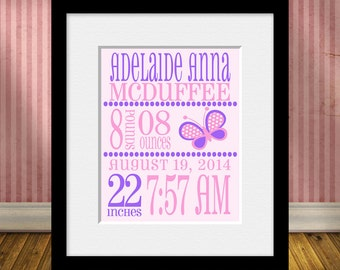 Birth Statistics Print, Nursery Decor, Baby Gift, Birth Annoucement Print, Baby Girl Gift, New Baby Gift, Baptism Gift, Christening Gift