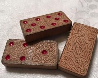 3 Vintage Wooden Dominoes