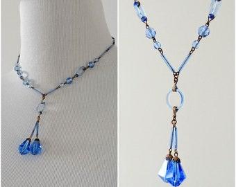 Vintage 1920's Blue Lampwork Necklace | 1920's Flapper Necklace | Art Deco Necklace |