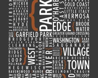 Chicago, Illinois Neighborhoods - Typography Print