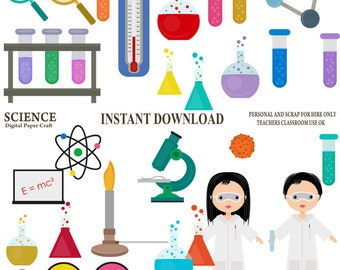 Science Clipart, Chemistry Clipart, School Clipart, Experiment Clipart, Instant Download
