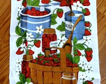Vintage Stevens Linens Strawberries Tea Towel