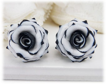 Black Tip White Rose Earrings Stud or Clip On
