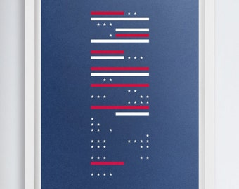 """Thirteen Stripes, Fifty Stars by Michael Nykamp. A signed, limited edition, 24""""x36"""" screen printed American flag poster."""