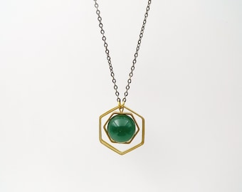 Long necklace,  hexagon necklace, Green Agate and raw brass necklace, Long geometric necklace, minimalist necklace