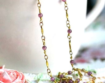 2 meters of brass hand connected chain with 4mm cat eye beads-mc9903-amethyst