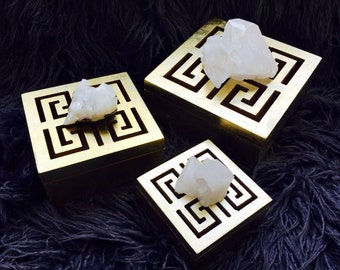 Gold Gilded Wooden Boxes Geometric Cutouts & Quartz Crystal Clusters.