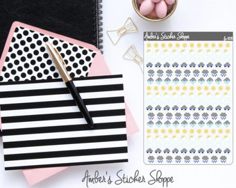 Weather Mixed Weather Sunny Cloudy Partly Sunny Stormy Rainy Planner Stickers