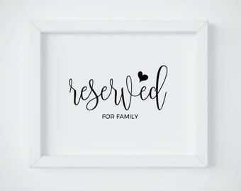 Reserved Sign For Family, Wedding Reserved Sign, Reserved Signs For Wedding, Wedding Signs, Reserved Wedding Sign, Wedding INSTANT DOWNLOAD