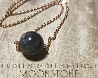 Moonstone Necklace. Delicate Crystal Necklace.  Moon, Celestial, Mood-Boosting Jewelry. Crystal Healing.