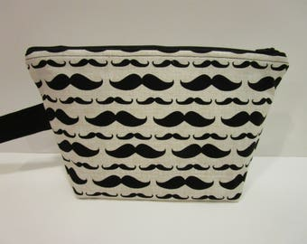 Zipper Project Bag with Mustache Fabric