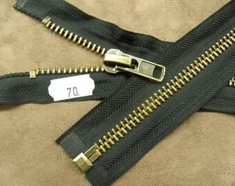 Separable zipper-70 cm - black & gold