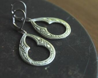Zagora Antique Silver Moroccan Keyhole Earrings