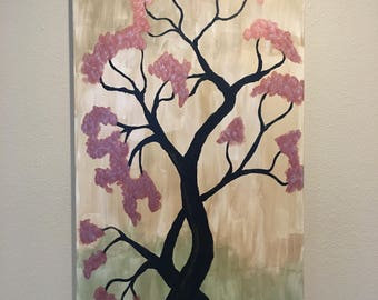 Asian abstract cherry blossom painting