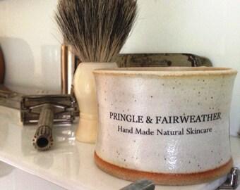 Shaving Soap Bowl in Cream - with Sandalwood Shaving Soap