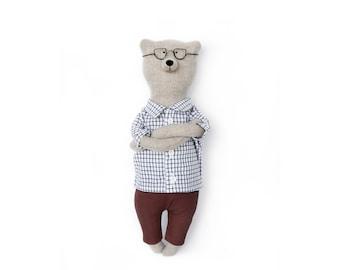 Tweed Teddy Bear named Philippe. Soft animals toys by Philomena Kloss