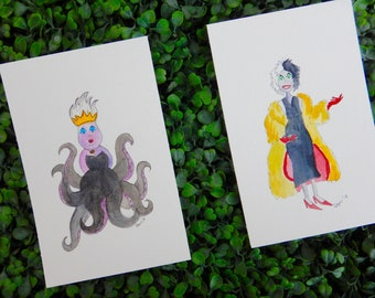 Disney Villains Artwork, Disney Villains Original, Ursula Art, Cruella Art, Original Disney Art, Disney Original Decor