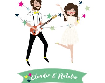 Custom Illustrated Starlit Wedding Invitation