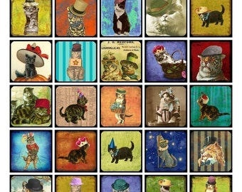 Cats in Hats Collage Sheet - Whimsical Cats - 1.5 x 1.5 Squares - Digital Download - Printable