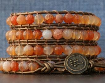 wrap bracelet- orange peach crackle agate on bronze leather - boho bohemian gypsy western - dream agate