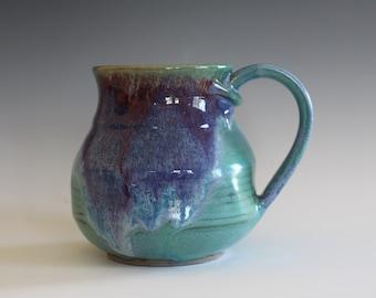 Unique coffee mug, 15 oz, handmade cup, handthrown mug, stoneware mug, wheel thrown pottery mug, ceramics and pottery