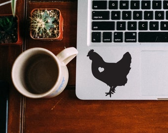 Chicken w/ Heart Car Laptop Vinyl Decal Sticker
