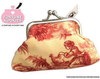 COIN PURSE Toile Print  fabric --Fortune Kookies a fortune in every purse