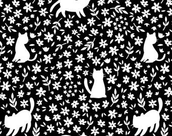 Meow - Cats Floral Silhouette Black from Camelot Fabrics