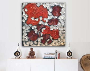 Canvas Art Painting, Abstract Painting, Metallic Painting, Large Abstract Art, Large Textured Art, Silver Large Art, Textured Art by Nata S.