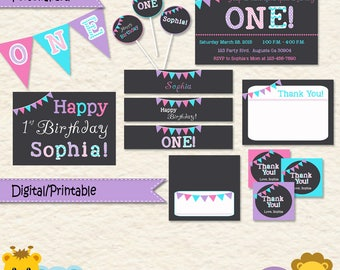 Pink Purple Turquoise Birthday Party Kit/ Chevron Stripes and Polka Dot Party Kit/ Girl Womans Birthday/ Printable Party Decorations/ D001A