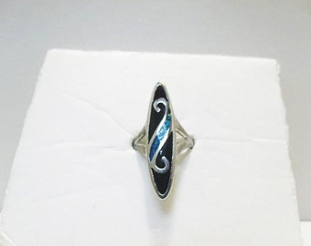 84 Russian Silver Ring With Inlaid Turquoise And Black Onyx / 1.5 Inch Long Setting / Ladies Size  7  Ring