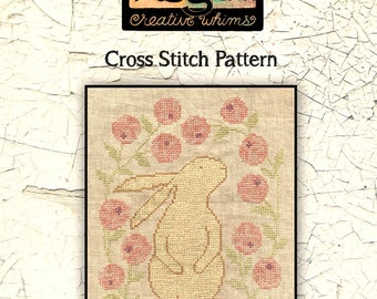 Bunny | Primitive | Cross Stitch Chart | Downloadable PDF | EPattern | Needlework | DIY | Crafts | Curious Bunny | XS059