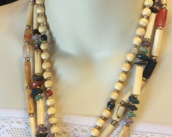 Vintage tribal bone tube beads gemstone chips triple strand necklace .